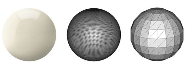 The perfect spherical surface on the left is approximated by tessellations. The figure on the right uses big triangles, resulting in a coarse model. The figure on the center uses smaller triangles and achieves a smoother approximation (source: i.materialize)