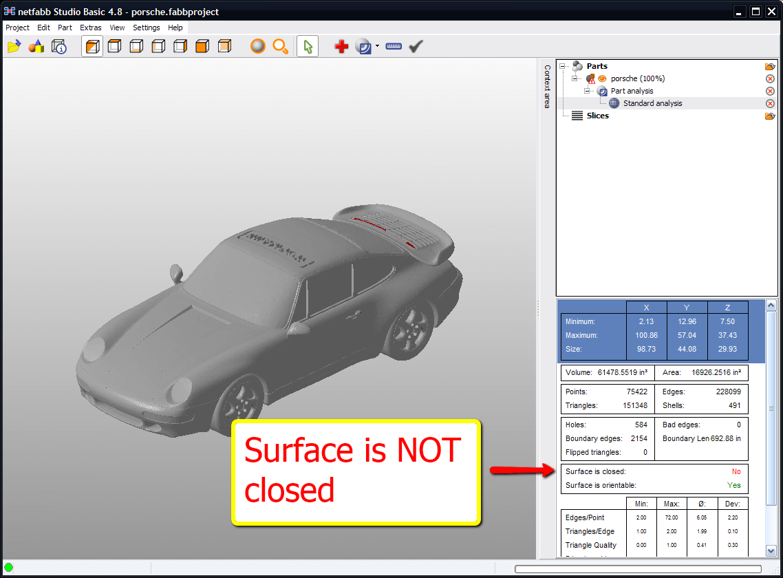 This STL file, for example, does not have a closed geometry. You need to repair it first to be able to 3D print it.